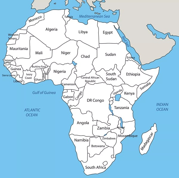 Countries of Africa and their Location
